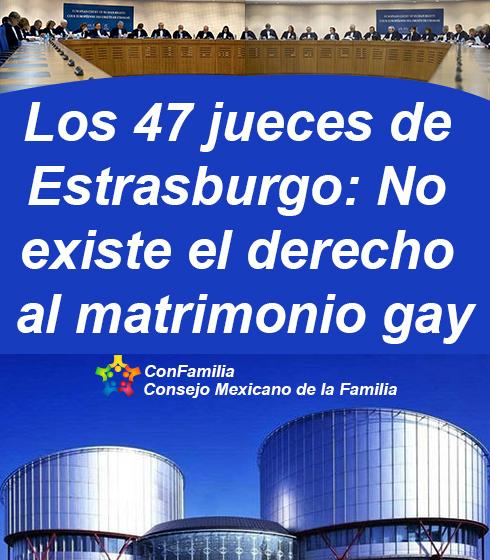 Los 47 jueces de Estrasburgo: No existe el derecho al matrimonio gay